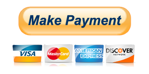 Make Payment PayPal button showing Visa, Mastercard, American Express and Discover card accepted